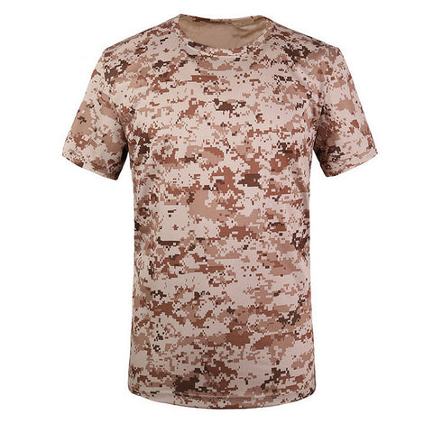 SZ-LGFM-New Outdoor Hunting T-shirt Men Breathable Army Tactical Combat T Shirt Military Dry Sport Camo Camp Tees-ACU yellow