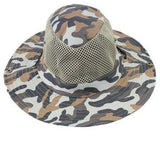 Men Military Camouflage Bucket Fishing Hat Jungle Camo Hiking Hat with Wide Brim Mesh Sun Bucket Hat Camping Hunting Caps