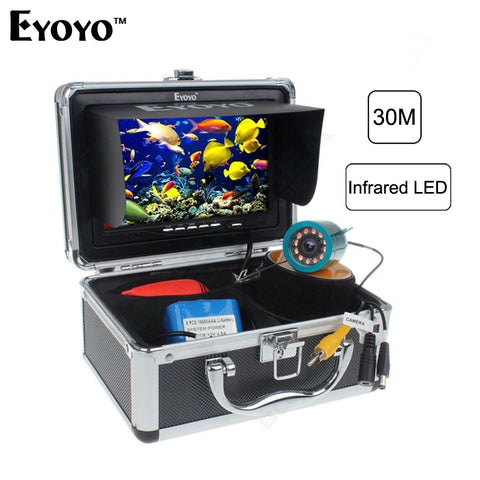 "Eyoyo Original 30m Professional Fish Finder Underwater Fishing Video Camera 7"" Color Monitor 1000TVL HD CAM 12pc Infrared light"