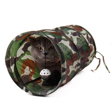 Pet Tunnel Cat Play Tunnel Camouflage Color Funny Cat Long Tunnel Kitten Play Toy Collapsible Bulk Cat Toys Play Tunnel Dia 25cm