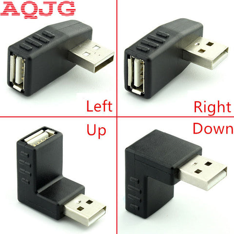 90 degree USB 2.0 A male to female Left and right angled adapter USB 2.0 AM/AF Connector for laptop PC Computer Black AQJG