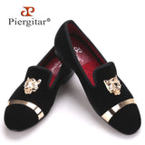 New fashion men party and wedding handmade loafers men velvet shoes with tiger and gold buckle men dress shoe men's flats