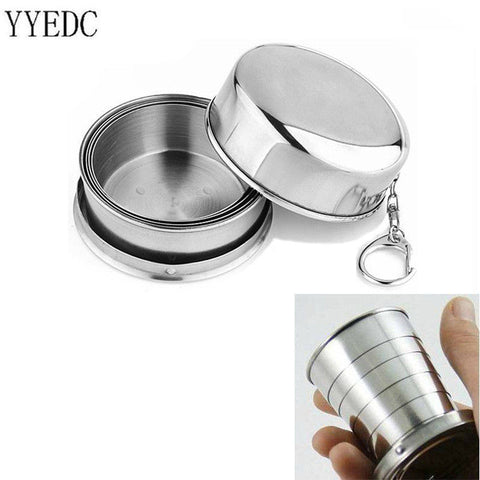 2016 1Pcs Stainless Steel Folding Cup Travel Tool Kit Survival EDC Gear Outdoor Sports Mug Portable for Camping Hiking Lighter