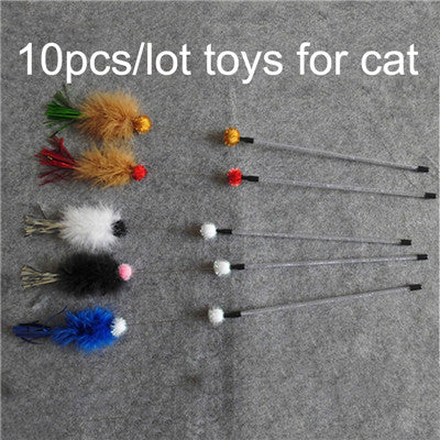 10 pcs/Lot Feather Cat Toy Teaser Stick Pet Playing Toys For Cats Funny Jumping Wholesale Jouet Chat Gatos Katten Speelgoed
