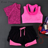 2017 3 Pieces Women Fitness Yoga Set T-Shirt & Bra & Cropped Trousers  Sport Set Gym Clothes Sport wear Training Suit quick dry