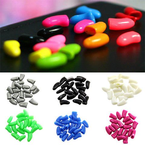 20Pcs Colorful Soft Pet Dog Cat Kitten Paw Claw Care Control Nail Caps Cover 3TH2