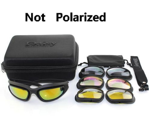 C5 Polarized Army Goggles, Military Sunglasses 4 Lens Kit, Men's Desert Storm Tactical Glasses Sporting Polarized Glasses