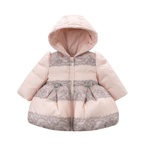 DB4274 dave bella winter  baby girls pink lace printed down coat  parkas