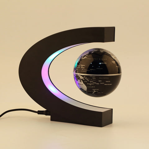 C shape LED World Map Floating Globe Magnetic Levitation Light Antigravity magic/novel light Xmas Birthday Gift Home Decor E5M1