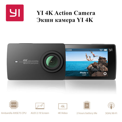 "[International Edition] Xiaomi YI 4K Action HD Camera 2 II 2.19"" Retina Screen IMX377 12MP 155 Degree EIS LDC Sport Camera CE"
