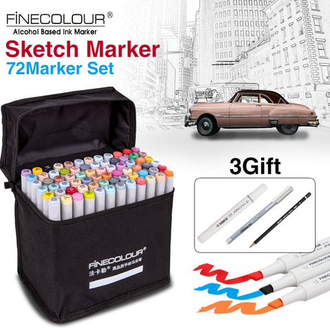 FINECOLOUR Artist Double Headed Sketch Copic Marker Set 36 48 60 72 Colors Alcohol Based Manga Art Markers for Design Supplies