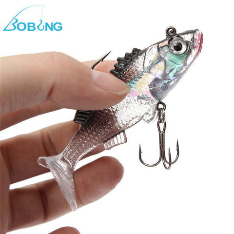 Bobing Paillette 3D Eyes Lead Fishing Lures Artificial Soft bait Carp Crank bait with Treble Tackle Hooks 7.6cm