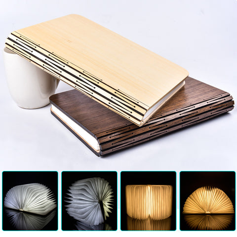 USB Rechargeable Folding LED Book Night Light Creative Home Table Desk Ceiling Decor Lamp RGB RGBWW WWW with Wooden Magnet Cover