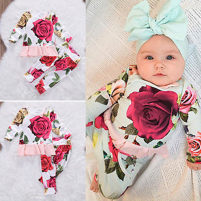 Kids Newborn Infant Baby Girl Gifts Clothes Floral long sleeve Tops Shirt+Pants Trousers Outfit Set