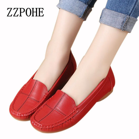 ZZPOHE leather shoes middle-aged mother shoes Women Slip on Casual shallow mouth flat Shoes soft bottom new work shoes Plus Size