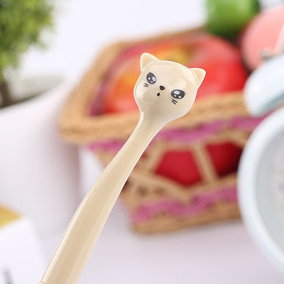 0.5mm Cute Kawaii Plastic Ink Gel Pen Cartoon Cat Pens For School Writing Office Supplies Korean Stationery Free Shipping 2102