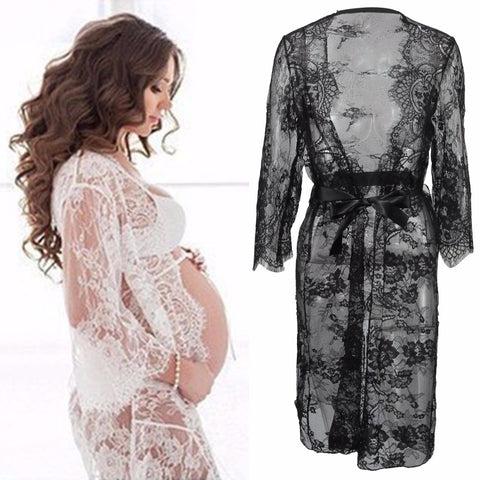 Puseky Maternity Photography Props Pregnant Dress For Photo Shoot Maternity Clothes Long Lace Dress Pregnancy Clothing V Neck