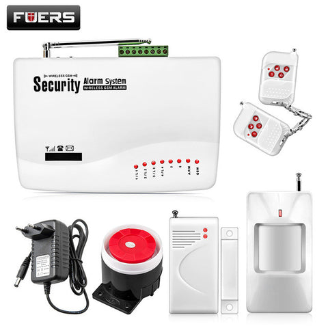 Fuers English Russian Spansih Voice Prompt GSM Alarm System SIM Home Security Burglar Door Sensor Alarm SMS Call Remote control