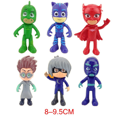 6Pcs/Set Pj Cartoon Mask Characters Catboy Owlette Gekko Cloak Action Figure Toys Boy Birthday Gift Plastic Dolls