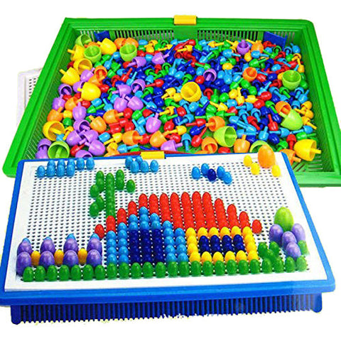 296 Mushroom Nail Intelligent 3D Puzzle Games DIY Mushroom Nail Plastic Flashboard Children Toys Educational Toy random color