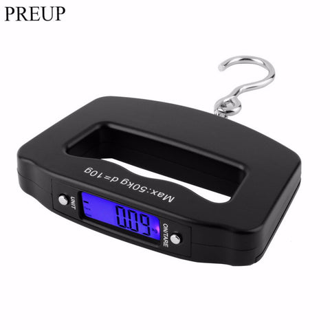 PREUP High Quality Mini Hand Held Plastic 50kg/10g LCD Digital Fishing Hanging Electronic Scale Pocket Hook Weight Luggage Scale