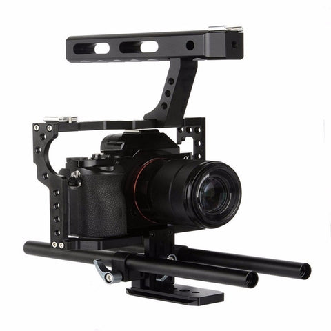 Professional Camera Cage Stabilizer Kit Rod Rig DSLR Camera Video Cage Kit Stabilizer & Top Handle Grip for CANON NIKON Camera