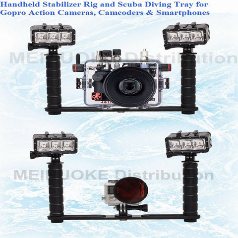 Handheld Handle Hand Grip Stabilizer Rig Underwater Scuba Diving Dive Tray Mount for Gopro Hero Camera SJCAM Camcoder Smartphone