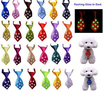 100pcs/Lot New Night Safety Flashing Glow Pet Dog Neckties Bowtie Mix Patterns Polyester Cute Dog Neckties Dog Grooming Product
