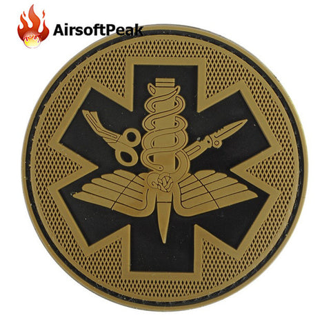 AIRSOFTPEAK Tactical PVC Patches Military Combat Army Patch Armband Backpack Luminous Badges For Medical Pouch First Aid Kit