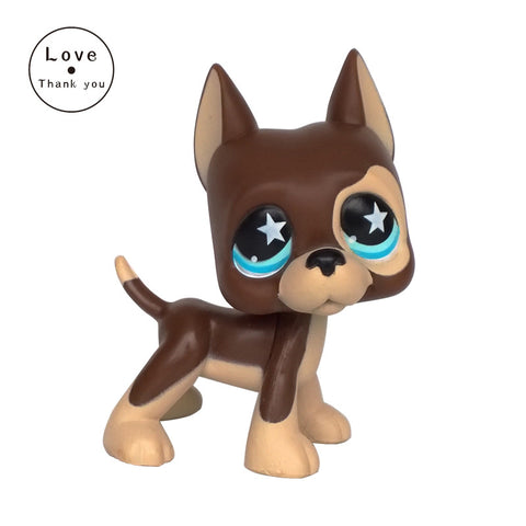 LPS GREAT DANE #817 brown dog star eyes Rare old collections figure toys