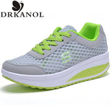 New 2017 Summer Breathable Air Mesh Shoes Women Lace Up Platform Women Casual Shoes Low Top Height Increasing Swing Shoes
