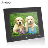 Andoer 8'' Ultrathin HD TFT-LCD Digital Photo Frame Alarm Clock MP3 MP4 Movie Player digital Photo Album with Remote Desktop