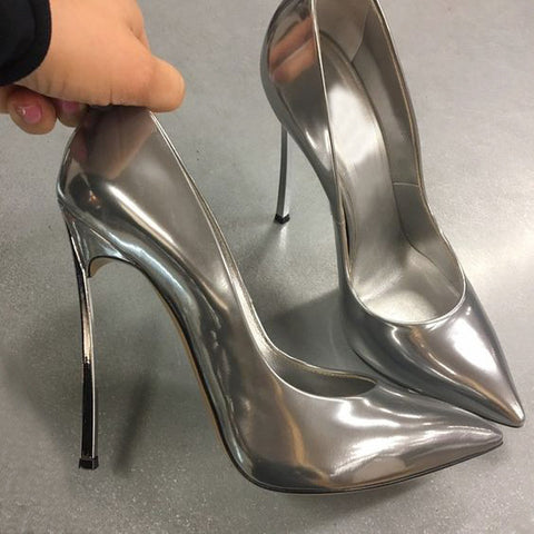 Plus Size 43 Designer Shoes Ladies Pumps Patent Leather Slip On Blade Stiletto High Heels Office Party Wedding Shoes Gold Silver
