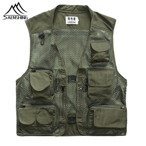 Saenshing Tactical Vest Military Tactical Vest Fishing Collarless Vest Thin Quick Dry Loose Type Multi-pocket Mesh Breathable