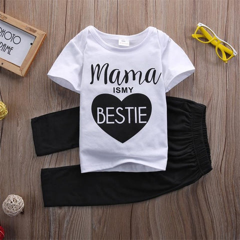 Newborn Baby Boys Girls Mama Bestie Summer outfits Kids Casual Cotton letter T-shirt Tops Long Pants Outfit Clothes Set 0-24M