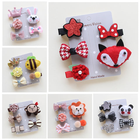 5pcs/Set Cute Pet Hairpin Set Cartoon Bows Hairpins  Hair Clips For Dogs Teddy Yorkshire Pet Grooming Accessories