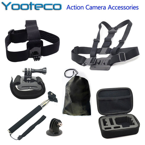 For GoPro Accessories Action Camera Bag Selfstick Tripod Mount Chest Head Strap for Go Pro Hero SJCAM SJ4000 Xiaomi yi EKEN H9