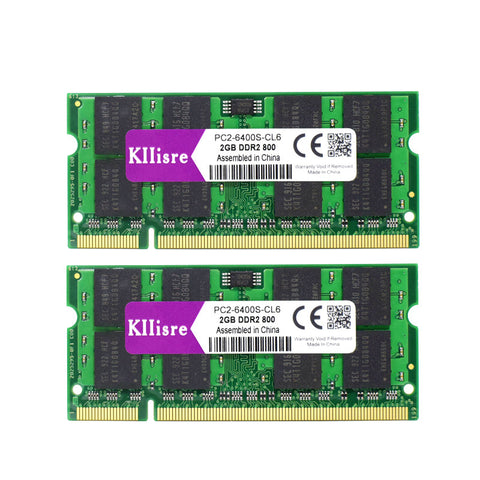Kllisre 4GB (2x 2GB ) DDR2 800MHz 667MHz Laptop Memory 200-pin SODIMM Notebook RAM