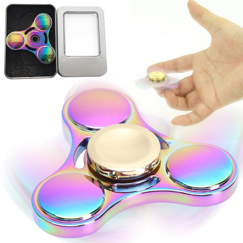 Rainbow Brass Tri-Spinner Fidget Spinner Focus Toy for Autism and ADHD Rotation Time Long Anti Stress Toys Hand Spinner