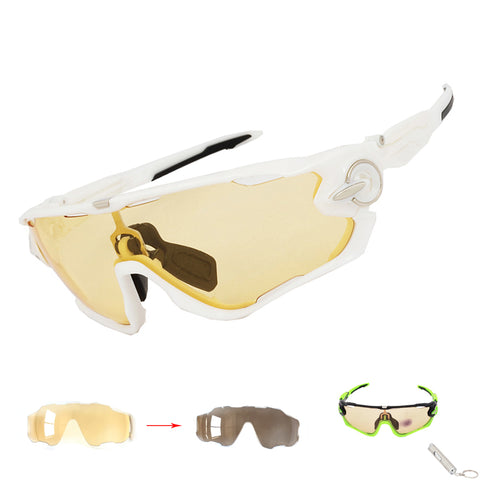 2017 NEW Yellow Photochromic Men Women Cycling Sunglasses Sports Eyewear Bicycle Goggles Bike Racing Glasses Myopia Frame