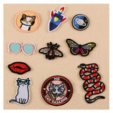2017 New Cat Butterfly Bee Snake Sunglass Patches Iron On Or Sew Fabric Sticker For Clothes Badge Embroidered Appliques DIY