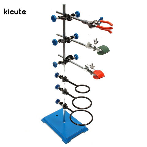 1 Set Laboratory Stands Support with Three Laboratory Clamp and Three Boss Head Clip and Hoop Lab Set School Education Supplies