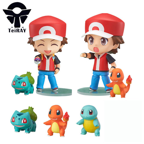 4Pcs set Kawaii Pikachu Ash Ketchum Charmander Figurine Anime 10Cm Nendoroid Red Pvc action figures Juguetes Kids Toys for boys