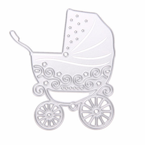 Cute Metal Baby Carriage Shape Embossing Cutting Dies Stencils for Scrapbooking/Photo Album DIY Crafts Paper Cart Decor
