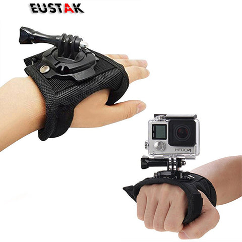 Eustak for GoPro 360 Degree Rotation Glove style Wrist Hand Band Mount Strap For GoPro Hero 4 Hero 4 Session 3+ 3 2 Xiaoyi cam