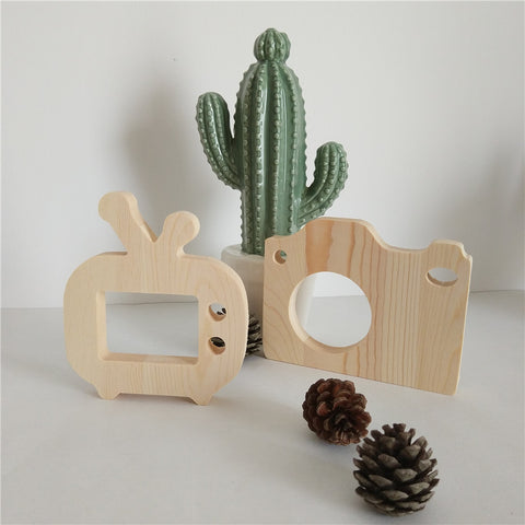 Baby Kids Cute Natural Wooden Camera Wooden TV DIY Toys Children Fashion Clothing Accessory Room Decoration Birthday Gift