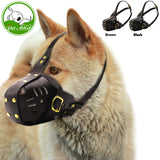 Genuine Leather Cage Basket Dog Muzzle Anti Biting Barking Chewing Training For Medium Large Breeds Pitbull Brown Black