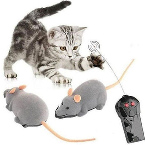 Strong-Toyers Hot selling Cat Toys Remote Control Wireless Plush Mouse Electronic Rat Mouse Mice Toy For Pet Cat Toy Supply