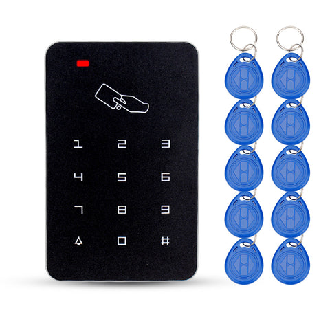 RFID standalone access control card reader with digital keypad+10 TK4100 keys for home/apartment/factory secure system