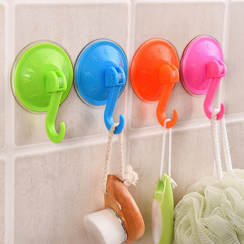 5 PCS/Lot Colorful Suction Cup Hooks Strong Wall Sucker Vacuum Traceless Hooks Kitchen Bathroom Wall Hook ABS